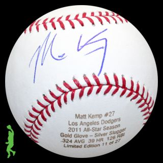 Matt Kemp Signed Auto 2011 All Star Season Stat Baseball Ball Dodgers