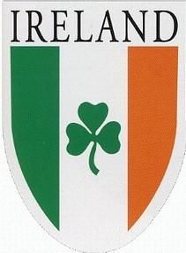Irish Tricolor Flag with Shamrock Decal Car Sticker Ireland
