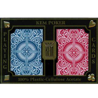 KEM Plastic Playing Cards Arrow Red Blue Bridge Jumbo