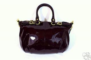 Coach Madison Patent Leather Sophia Plum Purple Satchel Bag Purse $378