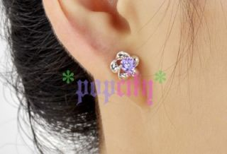 18K Gold GP Swarovski Crystal Diamond ARINNA Lady Floral Studs
