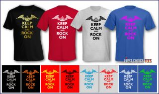 Funny Keep Calm Rock on Personalised Mens T Shirt