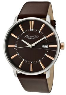Kenneth Cole Watch KC1819 Mens Brown Dial Dark Brown Leather