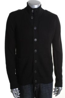 Kenneth Cole Reaction New Black Ribbed Button Down Funnel Cardigan