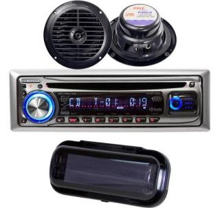 KENWOOD NEW KMR330 MARINE BOAT CD  RADIO RECEIVER 2 BLACK SPEAKERS