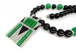 Kenneth Jay Lane Black & Green Art Deco Design Beaded Necklace