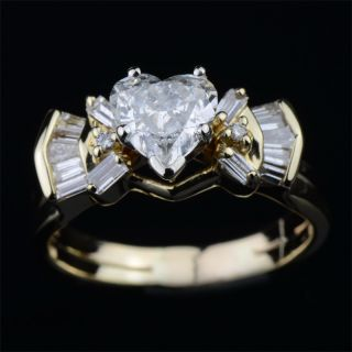 Carat Natural Diamond Ring Heart Shaped Wedding Solid Yellow White