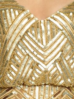 Untold Beaded blouson style dress Gold