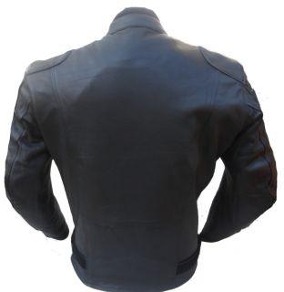 Mens Black motorbike Motorcycle Summer Leather Jacket