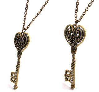 Classcial Antique Style Heart Key Zircon Pendants Necklace X83