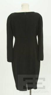 Tahari Black Long Sleeve Keyhole Detail Dress Size 12