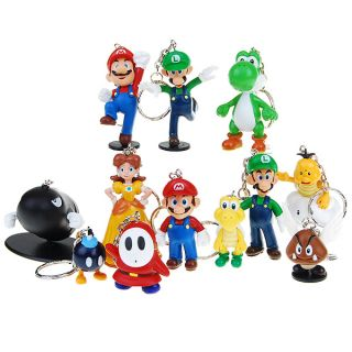 Super Mario Figure Keychains 12 Piece Set