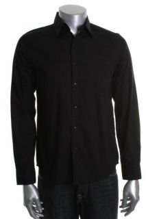 Kenneth Cole New Black Long Sleeve Shoulder Patch Button Down Shirt L