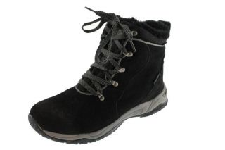 Khombu New Snowpath Black Leather Faux Fur Lined Waterproof Snow Boots