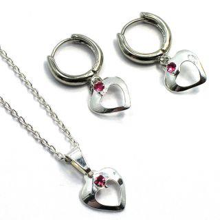 Set Sterling Silver Filled 925 Hoop Earrings Heart Baby Pink Crystal