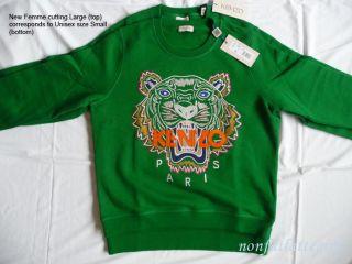 Kenzo Paris Tiger Sweater Green Sweatshirt Unisex Small Femme Large