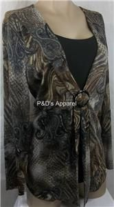 New Womens Plus Size Clothing Keren Hart 0X 2X 3X Brown Paisley Shirt