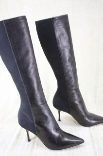 Jimmy Choo Keren Black Leather Pointed Toe Boots 5 5 Indiana Ibiza $