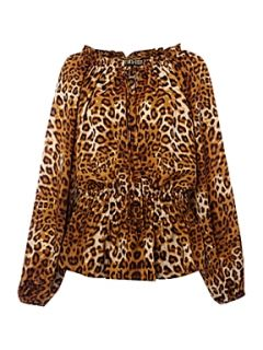 Biba Leopard print peasant blouse Multi Coloured