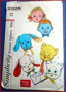 Vintage 50s Kids Play Pillows Pattern Transfers Cat Dog Boy Girl Doll