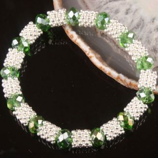Green Crystal Glass Faceted Bead Stretchy Bracelet Bangle 1pcs