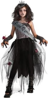 Gothic Prom Queen Child Costume includes a tattered, black formal