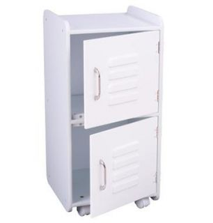 KidKraft Medium Kids Wood Storage Locker w Wheels White 14321