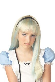 Alice Wonderland Blonde Blue Child Kids Halloween Wig