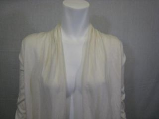 Kier J Adorable Long Open Front Cashmere and Cotton Cardigan Sweater
