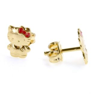 18K Gold GF Kitten Earrings Girl Kids Baby Infants Little Hello Kitty