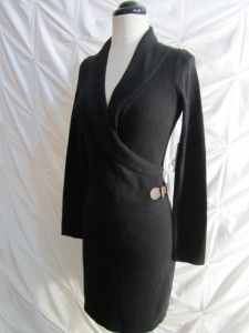 Kim Rogers Petite Black Shawl Collar Faux Wrap Sweater Dress Straight