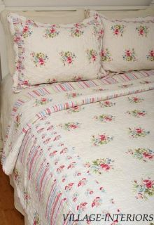 Kimberly Pink Blue Shabby Cottage Chic Queen Quilt