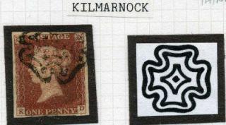1841 1D Red Kilmarnock Maltese Cross KD Cat £1700