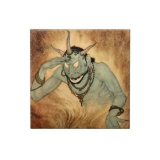 Vintage Halloween, Spooky Demon Monster with Horns Tile