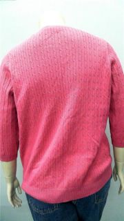 Kim Rogers Womens Petite 1x Comfort V Neck Cable Knit Sweater Pink