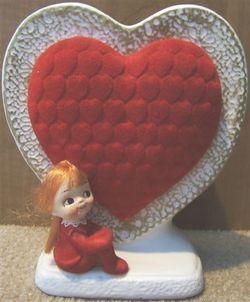 Vintage Napco Valentine Girl and Heart Planter C7942