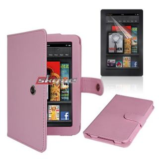 Pink Leather Case+Screen Protector for  Kindle Fire 2 7in 8GB