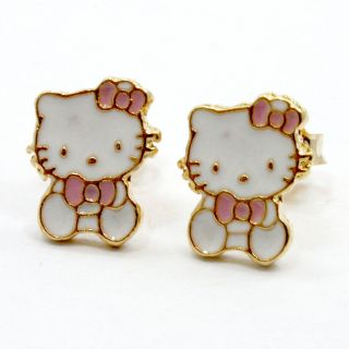 GF Baby Pink Girl Childs Kids Bow Hello Kitty Earrings Enamel