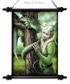 Anne Stokes Wall Art Scroll Kindred Spirits Fairy Princess with
