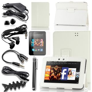 For  Kindle Fire HD 7 inch White PU Leather Cover Case