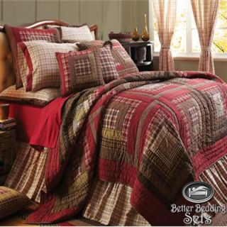 Red Rustic Country Log Cabin Twin Queen Cal King Oversized Quilt
