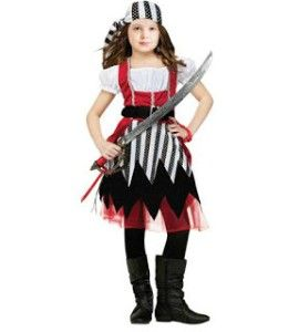 Pirate Queen Girl Costume Child Kid Dress Red Black White Silver