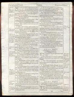 1612 King James 1st Quarto He Edition Bible Leaf RARE Psalm 23