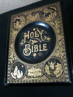 Antique Holy Family Bible King James Unmarked Leather 1872 Color