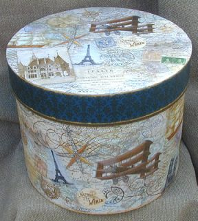 Round Storage Hat Box Lid Large Vintage Style European World Traveler