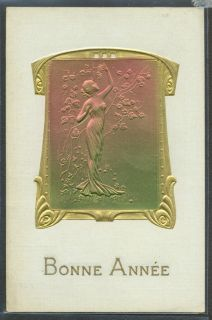 JZ148 Art Nouveau Kirchner Style Bas Relief Lady Gold Embossed Publ