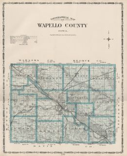 WAPELLO County Iowa Map Authentic 1904 (Dated) w/Towns, TWPs, RRs