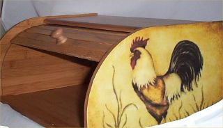 Rooster Bread Box Bamboo Wood Country Farm Kitchen Roll Top Lodge
