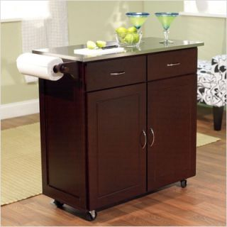 TMS Large Kitchen Cart with Stainless Steel Top in Espresso 60047ESP