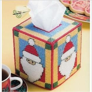 Fashion Christmas Tissue Box Cover Counter Cross Stitch Pattern